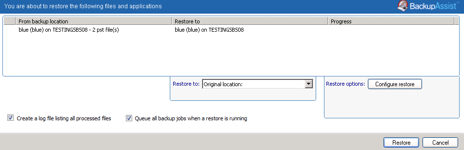 5. Restore Console restore destination selection When you select Restore to, a window will open showing the Restore to destination and the Restore options fields. a. Review Restore to and make your selection.