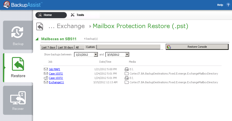 4. From the Restore > Exchange screen, select Mailbox Protection Restore (.