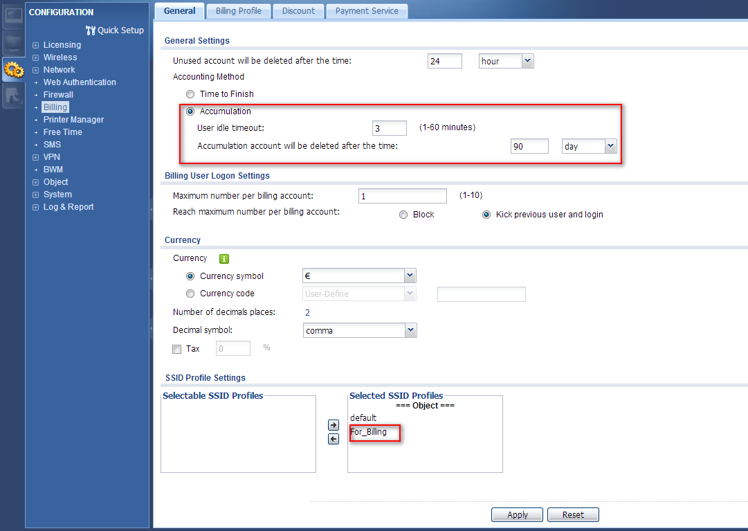 Step 2: Go to Configuration > Billing> General page to check the general setting in billing function.