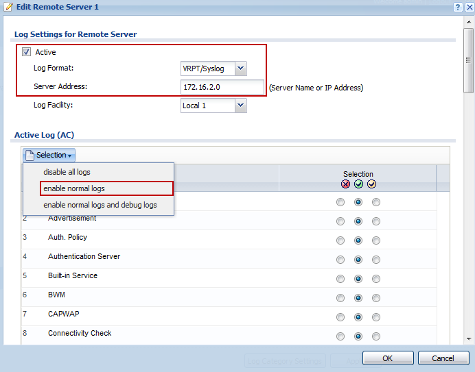 Step 2: Configuration > Log & Report > Log Settings and click on Remote Server 1 to edit log on Kiwi syslog server.