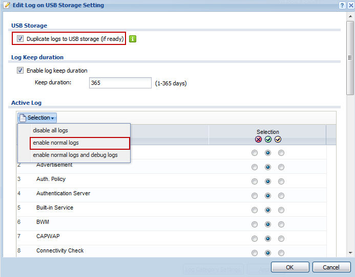 Step 3: Configuration > Log & Report > Log Settings and click on USB storage to edit log on USB storage setting.