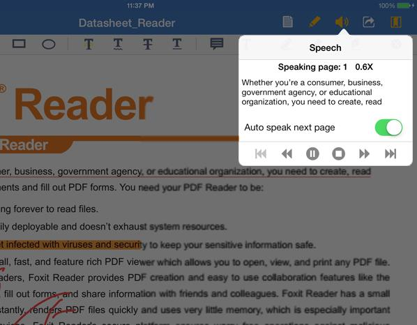 Chapter 7 Text to Speech Foxit MobilePDF Business Foxit MobilePDF Business supports reading the text of the PDF out loud (available for ios7 and above).