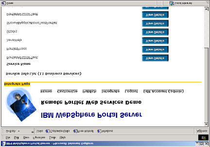 Figure 18: WebSphere Server lists businesses providing remote portlet web services The administrator can view the details of the UDDI business description or view the services offered by a business
