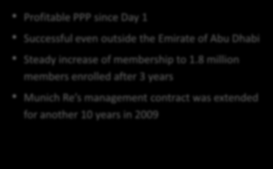 PPP in Abu Dhabi Overview Initial Challenges Support the reform of the health care system in Abu Dhabi Ensure the health insurance of expats working in Abu Dhabi Objectives Ensure affordable access