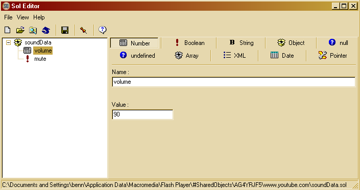 Figure 1: Sol Editor viewing a SOL file from www.youtube.com Flash has a default limit of 100 KB per domain for SOL storage.