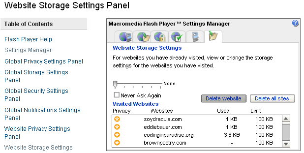 Figure 2: Flash Shared Object settings displayed by browsing to http://www.macromedia.com/support/documentation/en/flashplayer/help/settings_manager.
