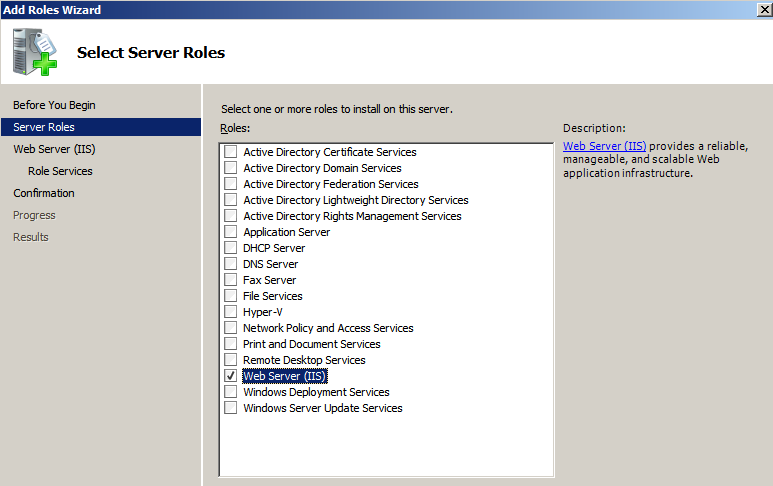Figure 3: Server role selection 4. In the Confirm Installation Selections menu, select all the default configuration items and click to Install IIS to the server. 5.
