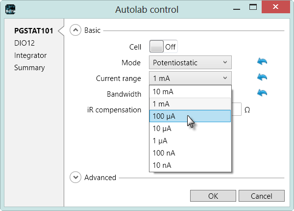 Changing the settings in the Autolab control command can be done by clicking the button. The Autolab control window will appear, displaying the settings defined in the command.