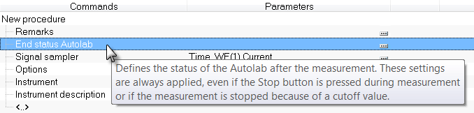 Figure 18 Using an input box in combination with the Autolab control command 7 End status Autolab The End status Autolab instruction is always present in the header of the procedure, alongside the