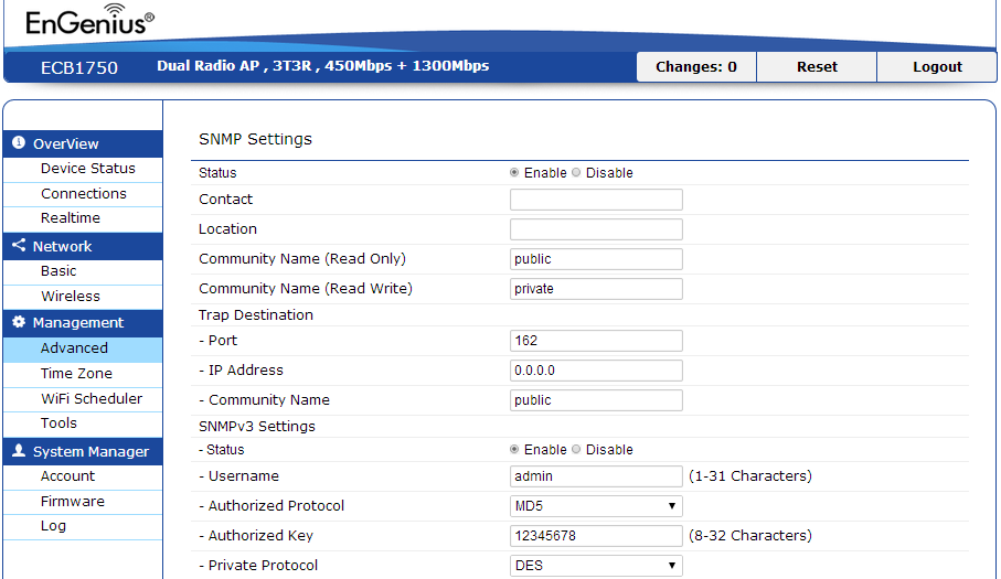 8.4 SNMP Settings This page allows you to assign the Contact Details, Location, Community Name, and Trap Settings for Simple Network Management Protocol (SNMP).