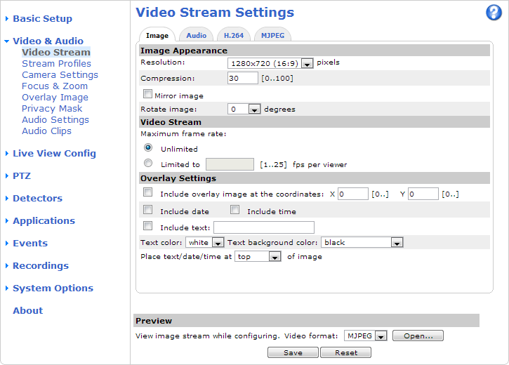 Video and Audio Video and Audio The video and audio settings can be used to optimize video and audio quality. You can configure the following: Video stream settings. See page 17. Stream profiles.