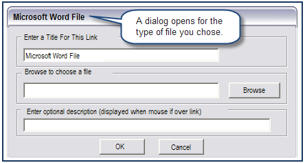 Add a link to a file Select an object or text that you want to link to a file. Click on Insert > Links > File Links>the desired link. A dialog opens for the type of file you chose.