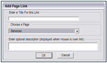 Link to a page Select an object. Click on Insert > Links > Page Link. This opens the Add Page Link dialog. Enter a title for the link. Choose a page from the drop down list.