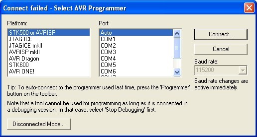 6. AVR Studio environment programming If there are no other programmers connected to the computer, click AVR icon (marked green).