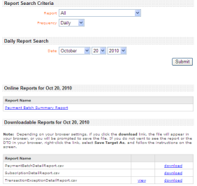 Reports CyberSource standard reports are available to you when logged into the Business Center.