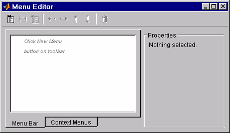 Creating Menus The Menu Editor Creating Menus The Menu Editor MATLAB enables you to create two kinds of menus: Menu bar objects menus displayed on the figure menubar Context menus menus that pop up