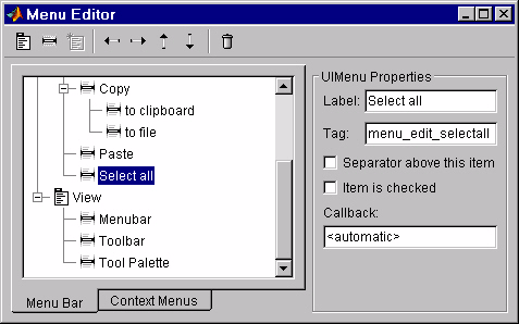 Creating Menus The Menu Editor where: MyGui is the name of the GUI M-file that launches the figure containing the menus.