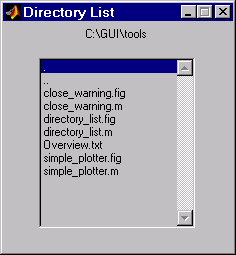 List Box Directory Reader List Box Directory Reader This example uses a list box to display the files in a directory.