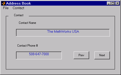 An Address Book Reader An Address Book Reader This example shows how to implement a GUI that displays names and phone numbers, which it reads from a MAT-file.