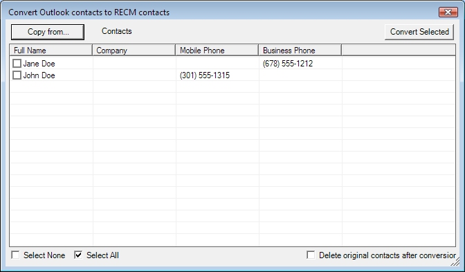 3. Convert to Outlook contacts. This will convert your RECM contacts back to the standard Microsoft Outlook format and copy them to the selected Contacts folder. a. Select Copy to to select the folder you d like the converted contacts copied to.