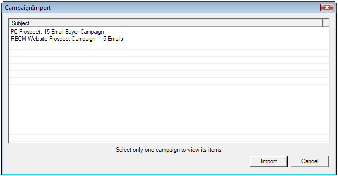 CREATE NEW CAMPAIGN Click the Add button will open a New Campaign template form. Campaigns can consist of customized Emails, Appointments, or Tasks.