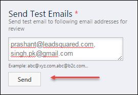 Testing Email Message You must send a test message before you move to next step.