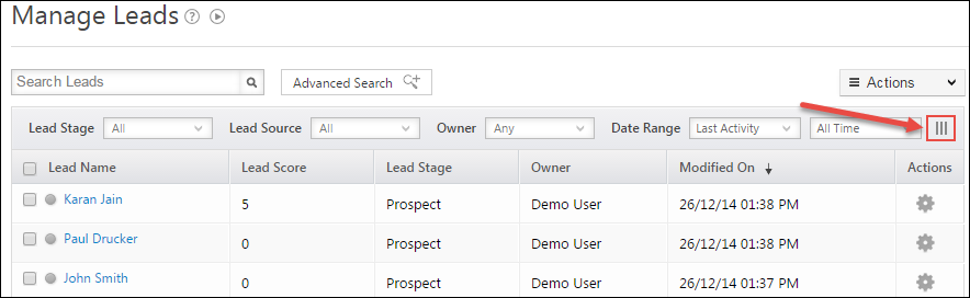 Customize Lead Grid You can decide which lead fields you want to