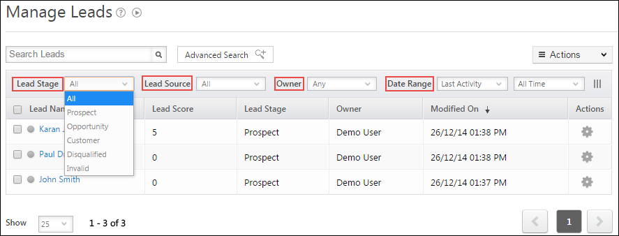 Filter Leads based on Lead Stage, Owner, Source and Date Range You can also look at