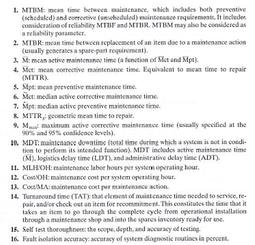 Maintainability (M) Measures of