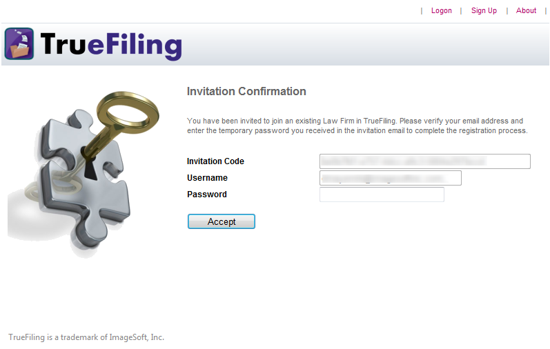 Introduction to TrueFiling 3. Click the Click this link to complete the registration process link.