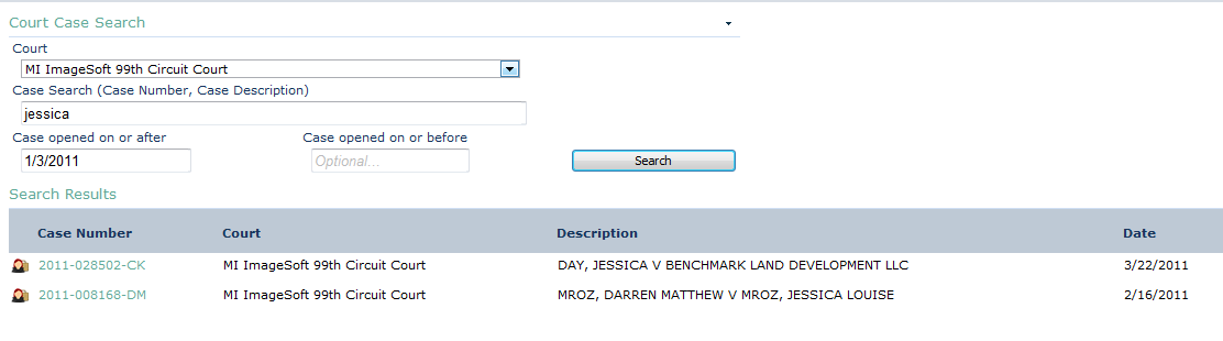 Searching for and Viewing Cases above, the case description has it as Day, Jessica. Searching for Jessica Day will result in no matches as shown below.