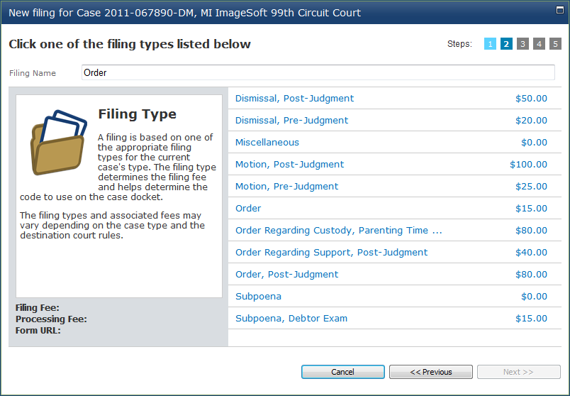 Filing Documents 9. Enter the name of the filing in the Filing Name text box.