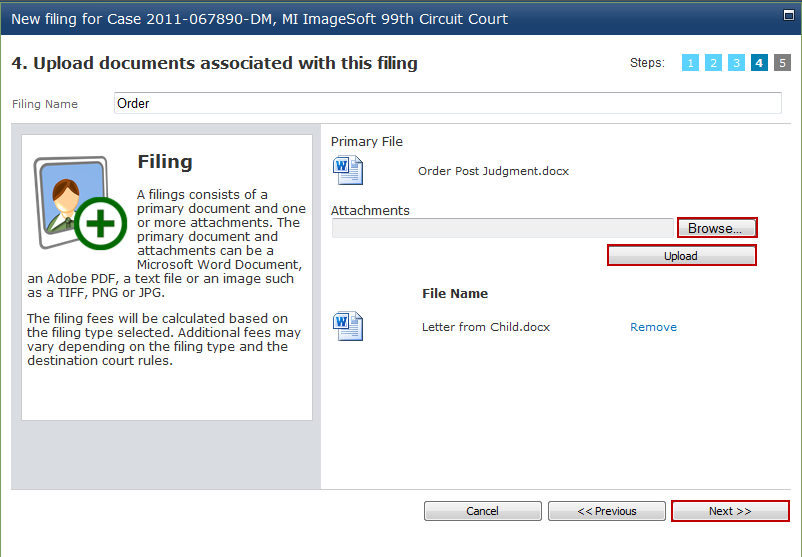Filing Documents 13. Select the attorney responsible for the filing to the right.