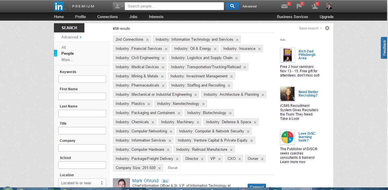LinkedIn Advanced Saved Search Thoughts: 1.