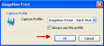 The first time you use IN Printer a dialogue box will display indicating the Capture Profile.