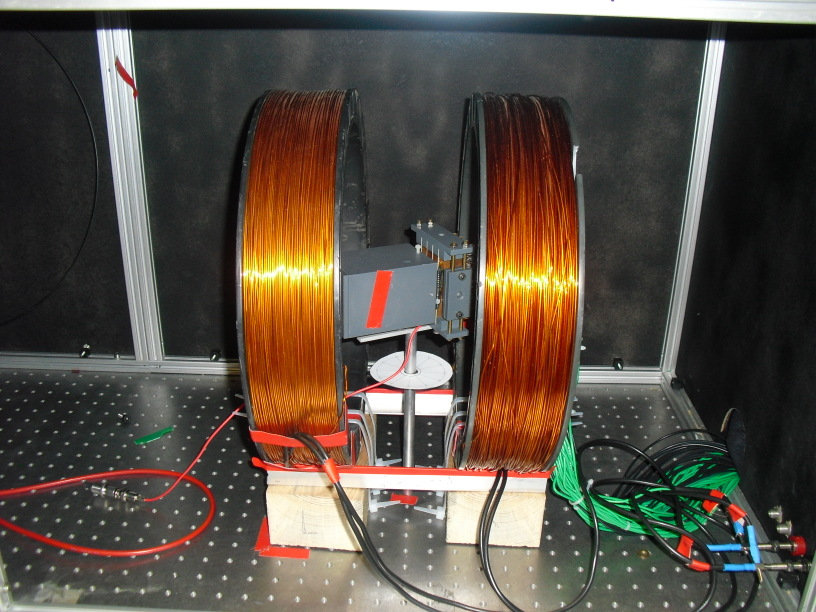 Setup for testing magnetic field effects Two operation modi: Max 15 mt (5 A per coil) (limited by powersupply, 300W) MAPMT Free Ø: 30cm Pulsed LED fixed to PMbox Large pulses,