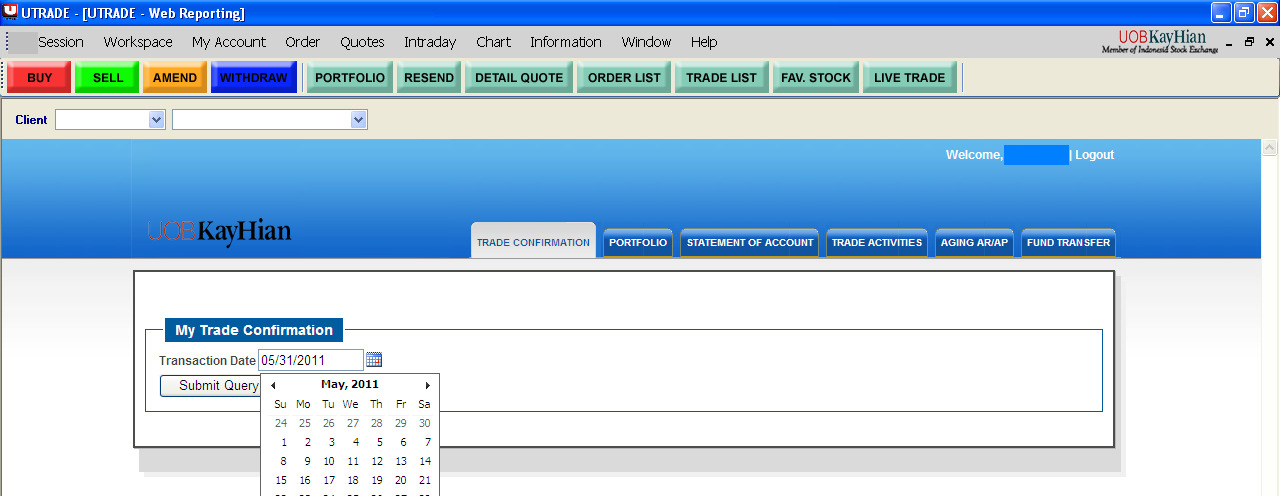 13. MY REPORT MENU Click menu My Account and then My Report 13.1. TRADE