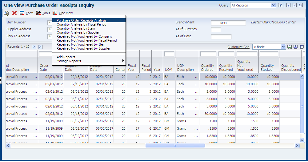 One View Purchase Order Receipt Inquiry