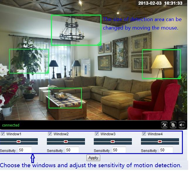 you can set up detect window here, tick a window, the corresponding green frame of motion detection window is displayed, you can tick