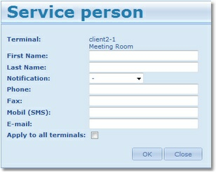 21 The contact details include First name, Last name, E-mail, Fax, Phone, Mobile Phone of the service person. Once you've added all the details, click Apply. The information will appear in the table.