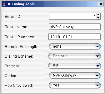 3. Add a new codec profile named MVP Gateway. Set the following parameters: Set Codec to Prefer G.723.1 support G.729 (the codec between MaxCS and the MultiVoIP Gateway, in this example, is G.