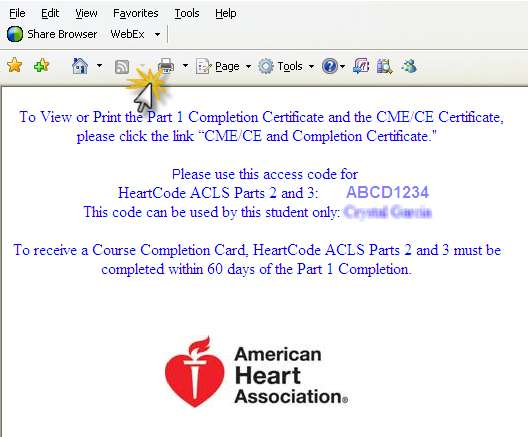 To retrieve the certificate of completion, click on the View Certificate link located at the bottom of screen as shown.
