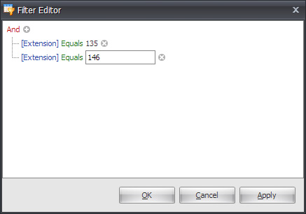 Using BRV Client 33 6. Select Extension, Equals and enter the second numeric value.