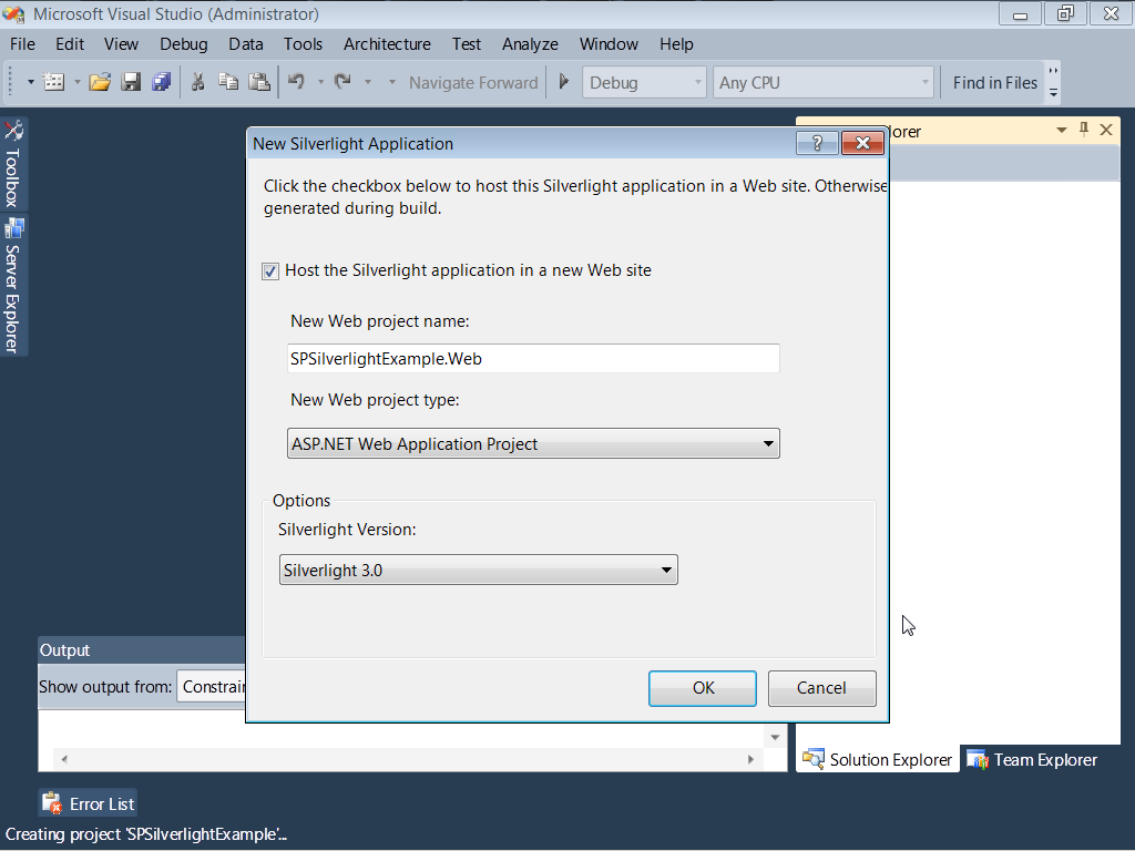 9. Right-click on the SPSilverlightExample project in the Solution Explorer and select Add Reference. 10.