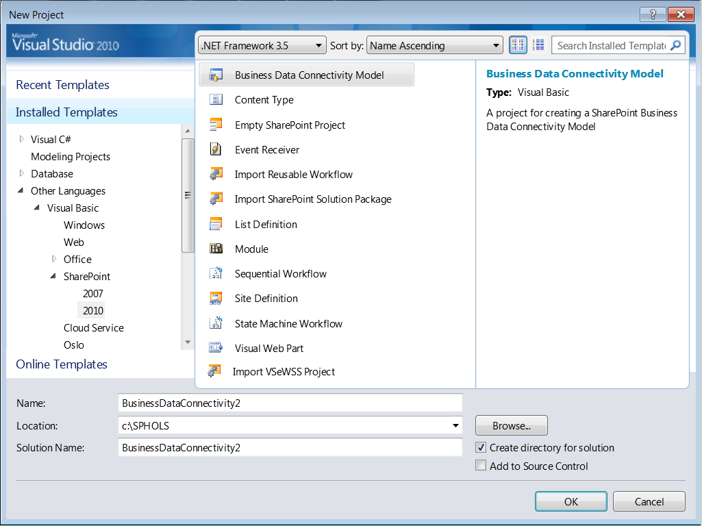 Figure 2 SharePoint Project Types in Visual