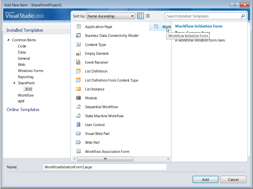 Figure 3 SharePoint Item Templates in Visual Studio 2010 Each project wizard guides you through the process by asking what site you want to use to deploy and