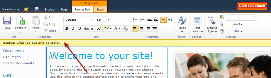 Figure 17 - SharePoint Server 2010 allows developers to easily control the entire page experience from the menus to the content The user interface now also features a status bar immediately below the