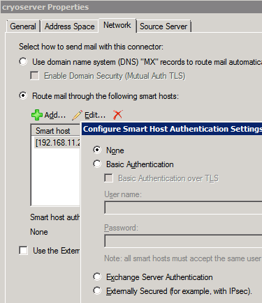 Figure 5 - Cryoserver does not require any SMTP connection security Step 2 Creating a Contact for the Cryoserver Email Address When adding the Journaling rule, you must select a valid user Mailbox