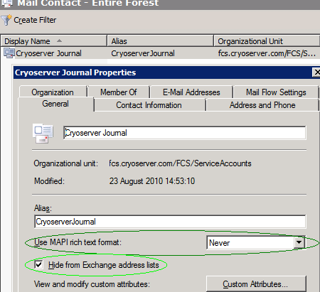 Figure 6 - Adding a Contact for Cryoserver Journal mail Figure 7 - Modify