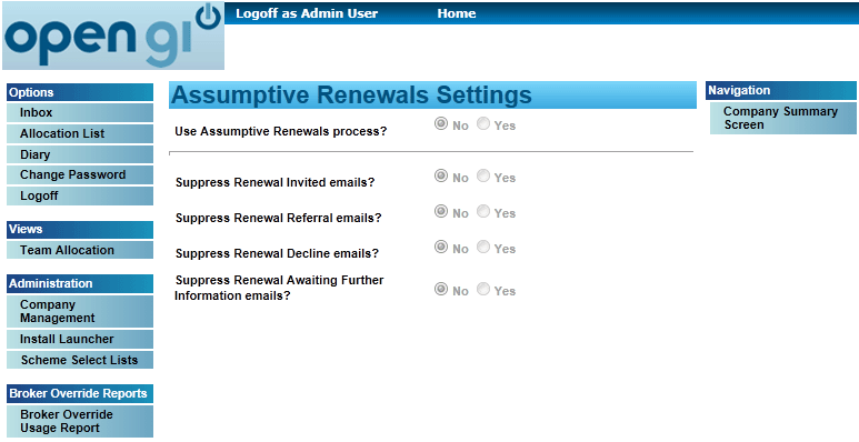 Assumptive Renewal Configuration 1. Select the Company Management option on the left-hand side and you will be given details of your company. 2.